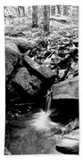Forest Stream In Black And White Beach Towel