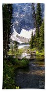 Forest View To Mountain Lake Beach Towel by Greg Hammond