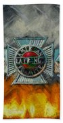 Forged In Fire - Vintage American Lafrance - Oil Beach Towel