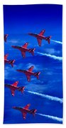 Formation Flying Britains Red Arrows Beach Towel