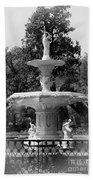 Forsyth Park Fountain Black And White With Vignette Beach Towel