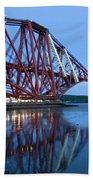 Forth Railway Bridge In Edinburg Scotland  Beach Towel