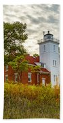 Forty Mile Point Lighthouse Lake Huron Lower Peninsilat Mi  Beach Towel