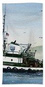 Foss Tugboat Martha Foss Beach Towel by James Williamson