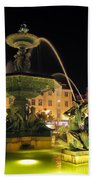 Fountain In Rossio Square Beach Towel