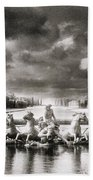 Fountain With Sea Gods At The Palace Of Versailles In Paris Beach Towel