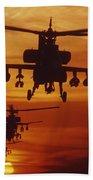 Four Ah-64 Apache Anti-armor Beach Towel