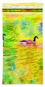 Four Canadian Geese In The Water 1 Beach Towel