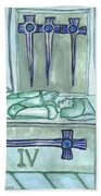 Four Of Swords Illustrated Beach Towel
