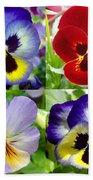 Four Pansies Beach Towel