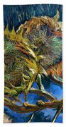 Four Sunflowers Gone To Seed, By Vincent Van Gogh, 1887, Kroller Beach Towel
