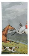 Fox Hunting - Full Cry Beach Towel by Charles Bentley