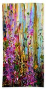 Foxgloves Panel One Beach Towel