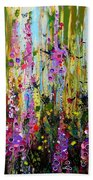 Foxgloves Panel Two Beach Towel