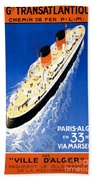 France Cruise Vintage Travel Poster Restored Beach Towel