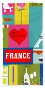 France Vertical Scene - Collage Beach Towel