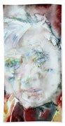 Francis Bacon - Watercolor Portrait.2 Beach Towel