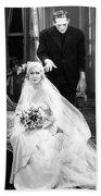 Frankenstein Monster Sneaks Up On Bride 1931 Movie Beach Towel