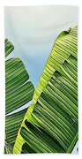Frayed Palm Fronds Against Blue Sky Beach Towel