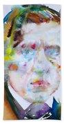 Frederic Chopin - Watercolor Portrait Beach Towel
