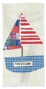Freedom Boat- Art By Linda Woods Beach Towel