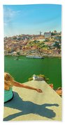 Freedom Woman At Douro River Beach Towel