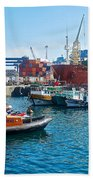 Freighter And Shipping Containers In Port Of Valpaparaiso-chile Beach Towel