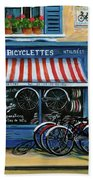 French Bicycle Shop Beach Towel
