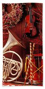 French Horn Christmas Still Life Beach Towel