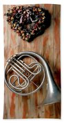 French Horn Hanging On Wall Beach Towel