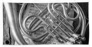 French Horn In Black And White Beach Towel
