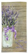 French Lavender Rustic Country Mason Jar Bouquet On Wooden Fence Beach Towel