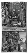 French Quarter Musicians Collage Bw Beach Towel