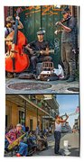 French Quarter Musicians Collage Beach Sheet