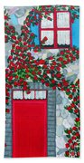 French Stone House And Rose Trellis Beach Towel