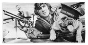 French World War Two Postcard Celebrating The British Bulldog As A Mascot For The Royal Air Force Beach Towel