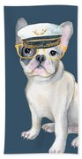 Frenchie French Bulldog Yellow Glasses Captains Hat Dogs In Clothes Beach Towel