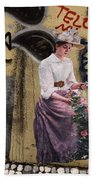 Frescoe Painting Of A Woman In Traditional Dress With Flowers Am Beach Towel
