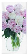 Vase Of Peonies Beach Towel