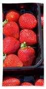 Fresh Ripe Strawberries In Plastic Boxes Beach Towel