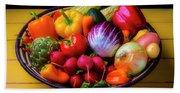 Fresh Vegetables In Lovely Basket Beach Sheet
