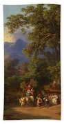 Frey  Johann Jakob 1813 Basel   1865 Frascati  Wedding Procession Of Italian Farmers Beach Towel