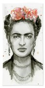 Frida Kahlo Portrait Beach Towel