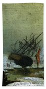 Friedrich Caspar David Wreck By The Sea Beach Towel