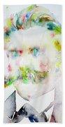 Friedrich Nietzsche - Watercolor Portrait.7 Beach Towel