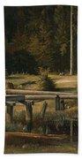 Friedrich Voltz 1817 Nordlingen   Munich 1886 Forest Clearing At A Pond Beach Towel