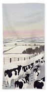 Friesians In Winter Beach Towel