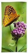 Fritillary Butterfly And Flower Beach Towel