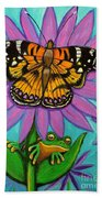 Frog And Butterfly Beach Towel