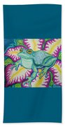 Frog And Flower Beach Towel